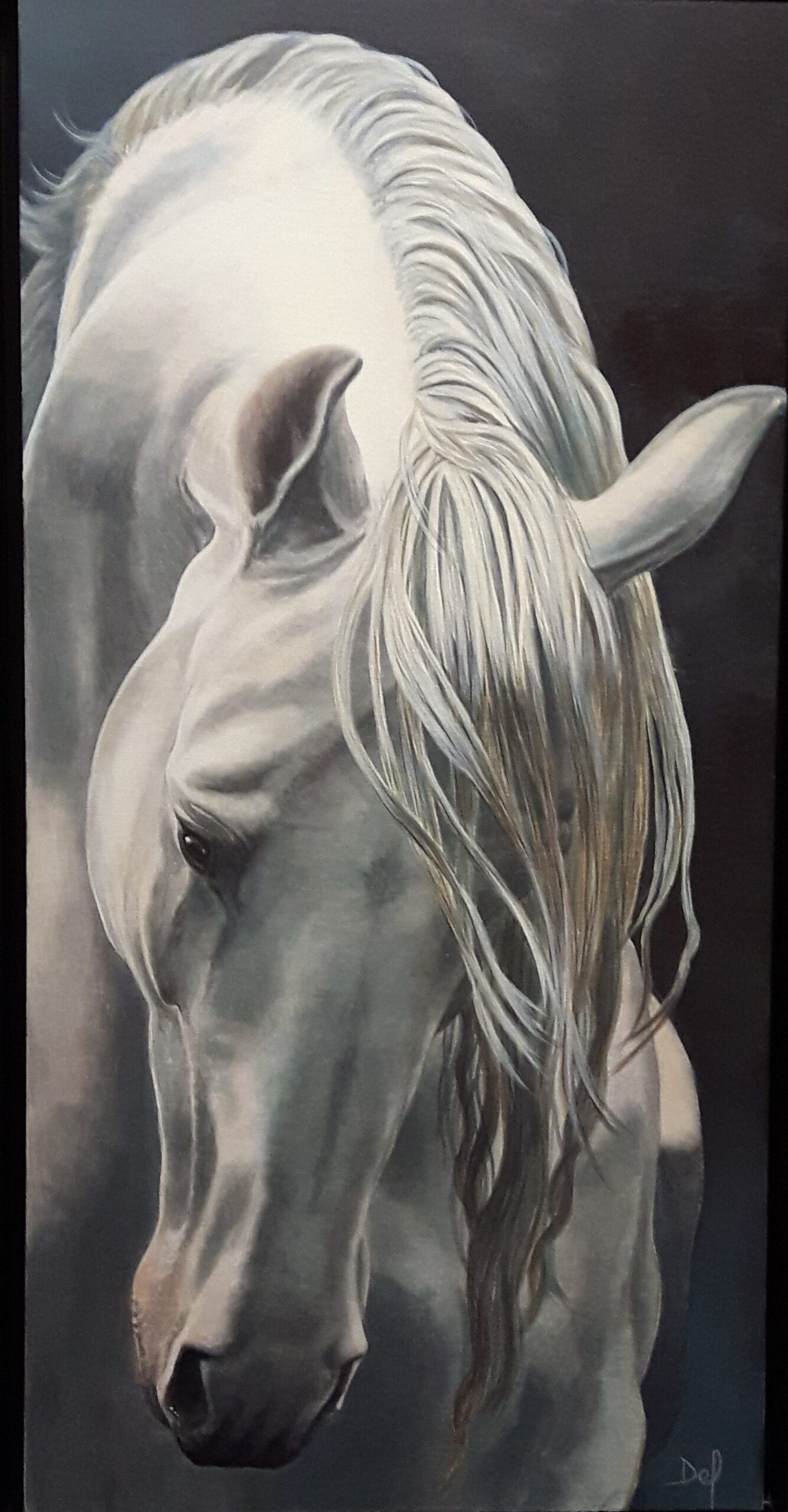 Painting of a horse by Delvea Tuff.