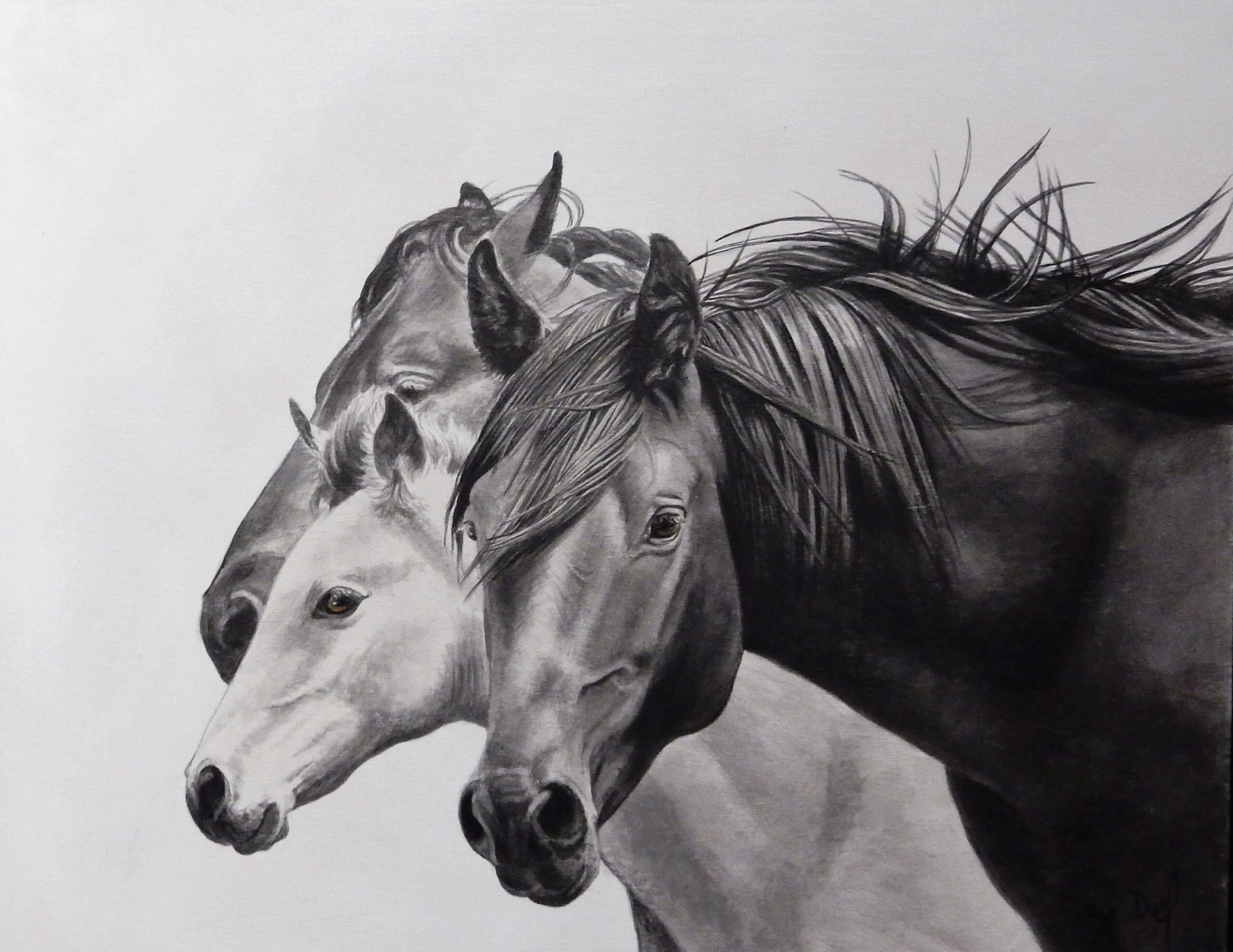Painting of a horse by Delvea Tuff, titled Bonds.