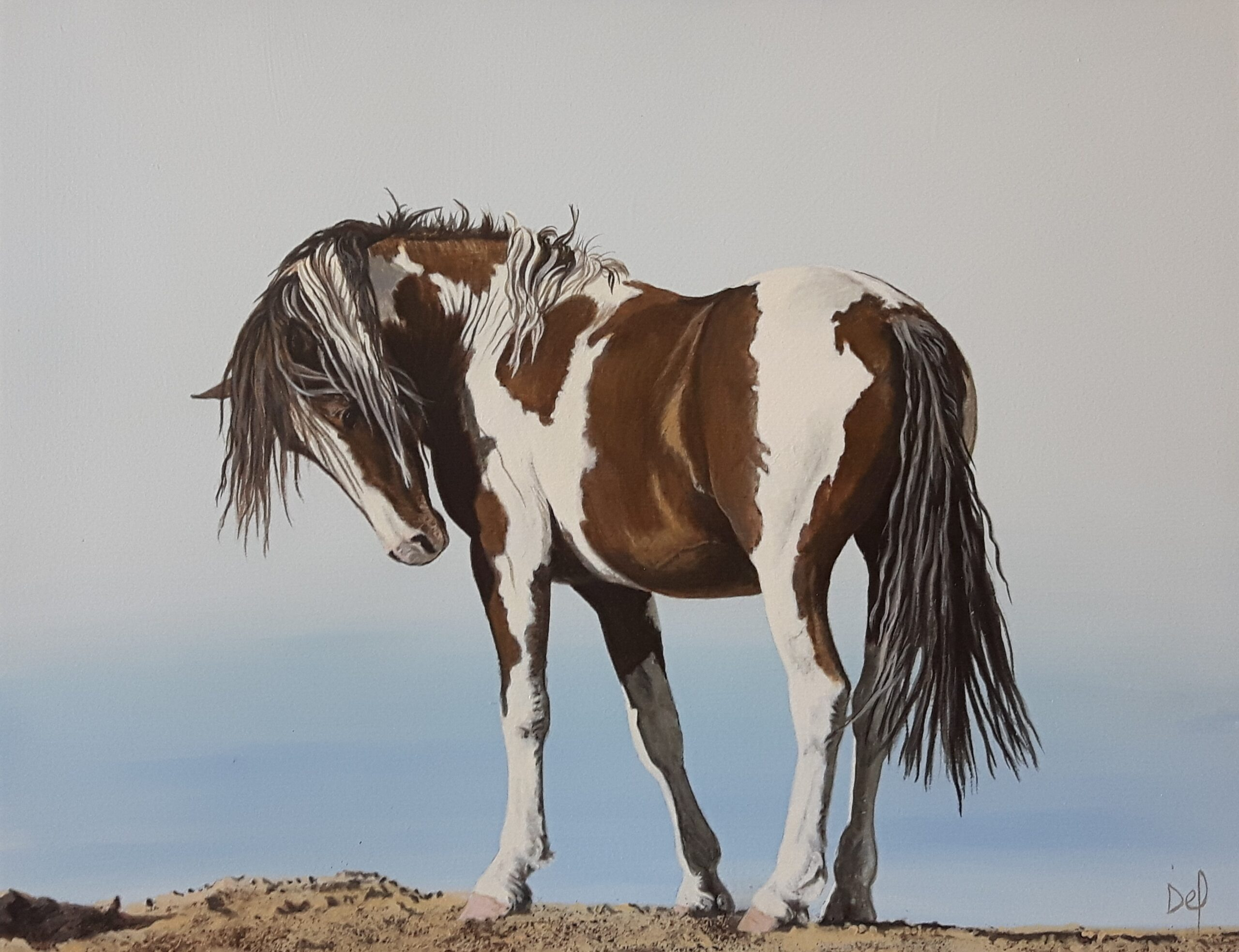 Painting of a horse by Delvea Tuff, titled Paint Me Pretty.