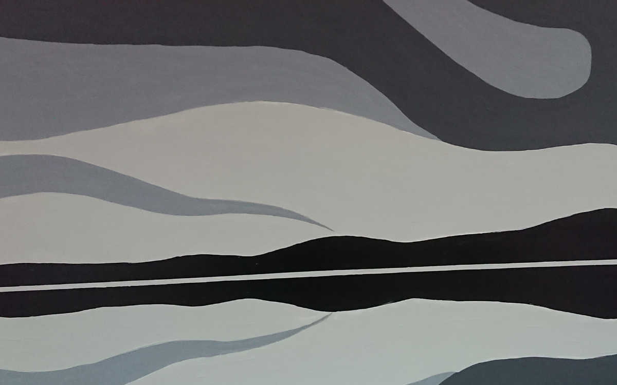 Abstract painting of the thaw in the spring by Leslie Beauchamp.