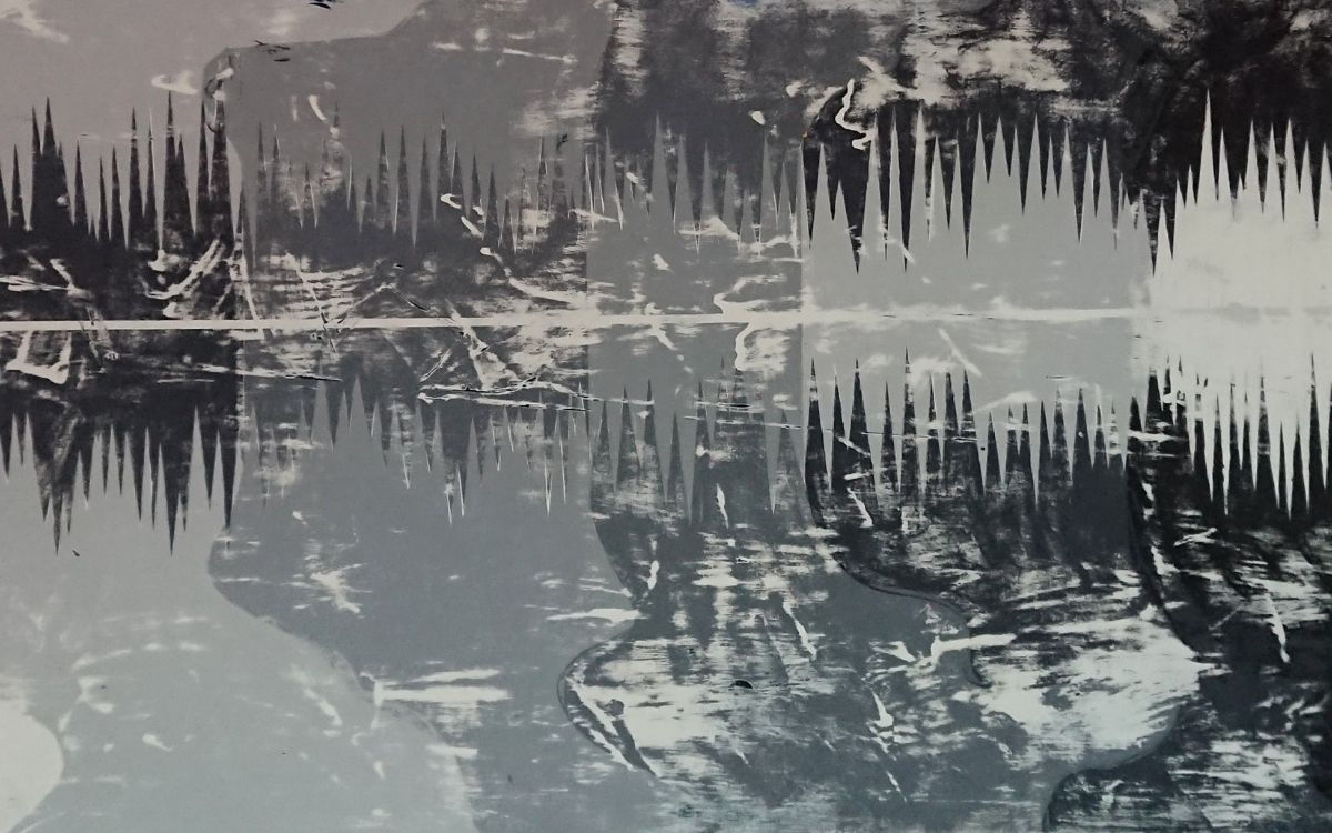 Abstract Painting of Lake Superior in the winter by Leslie Beauchamp
