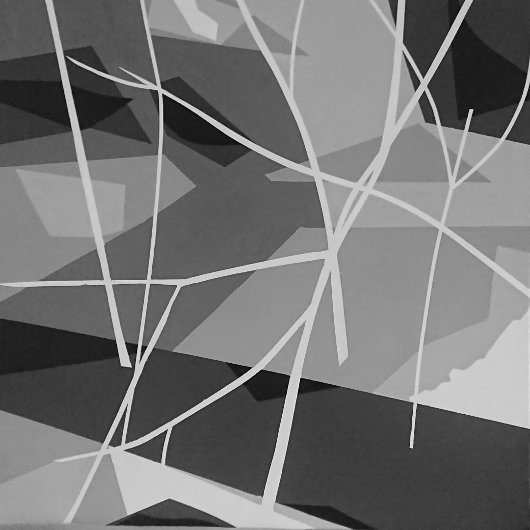 Abstract painting of the thaw in spring by Leslie Beauchamp.