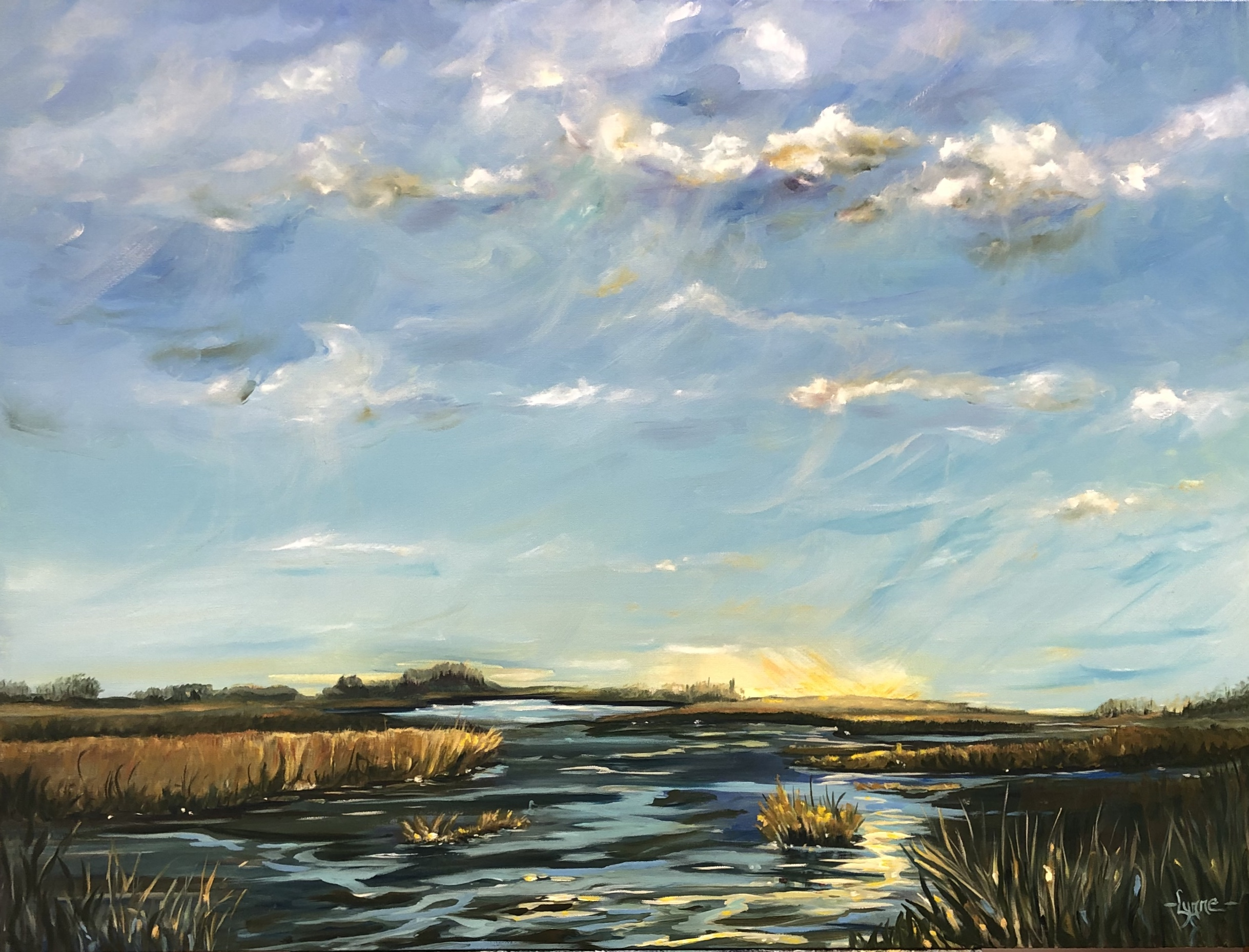 Painting of morning light hitting a lake by Lynne Rempel.