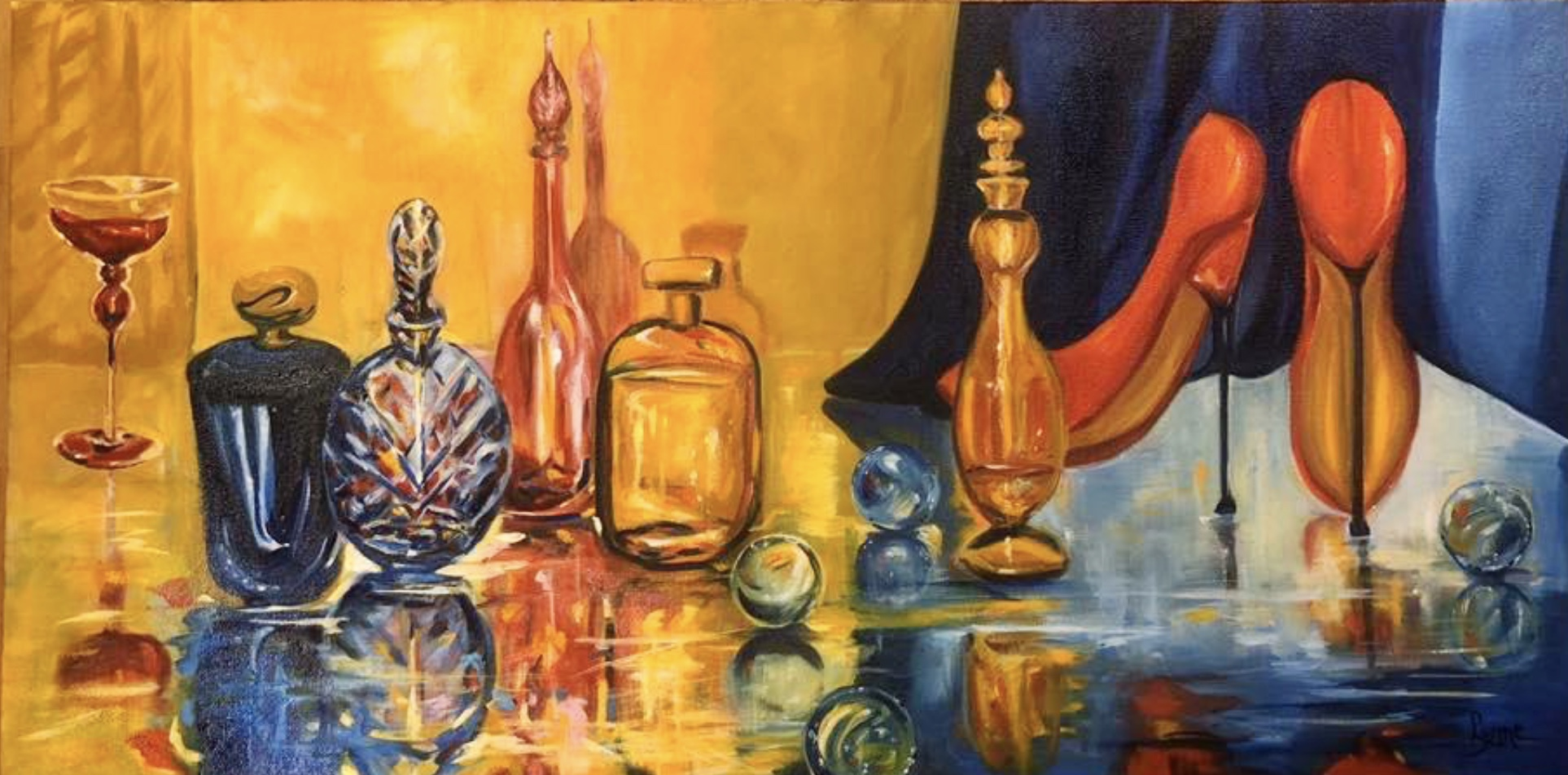 Painting of perfume bottles reflecting in a mirrored table by Lynne Rempel.
