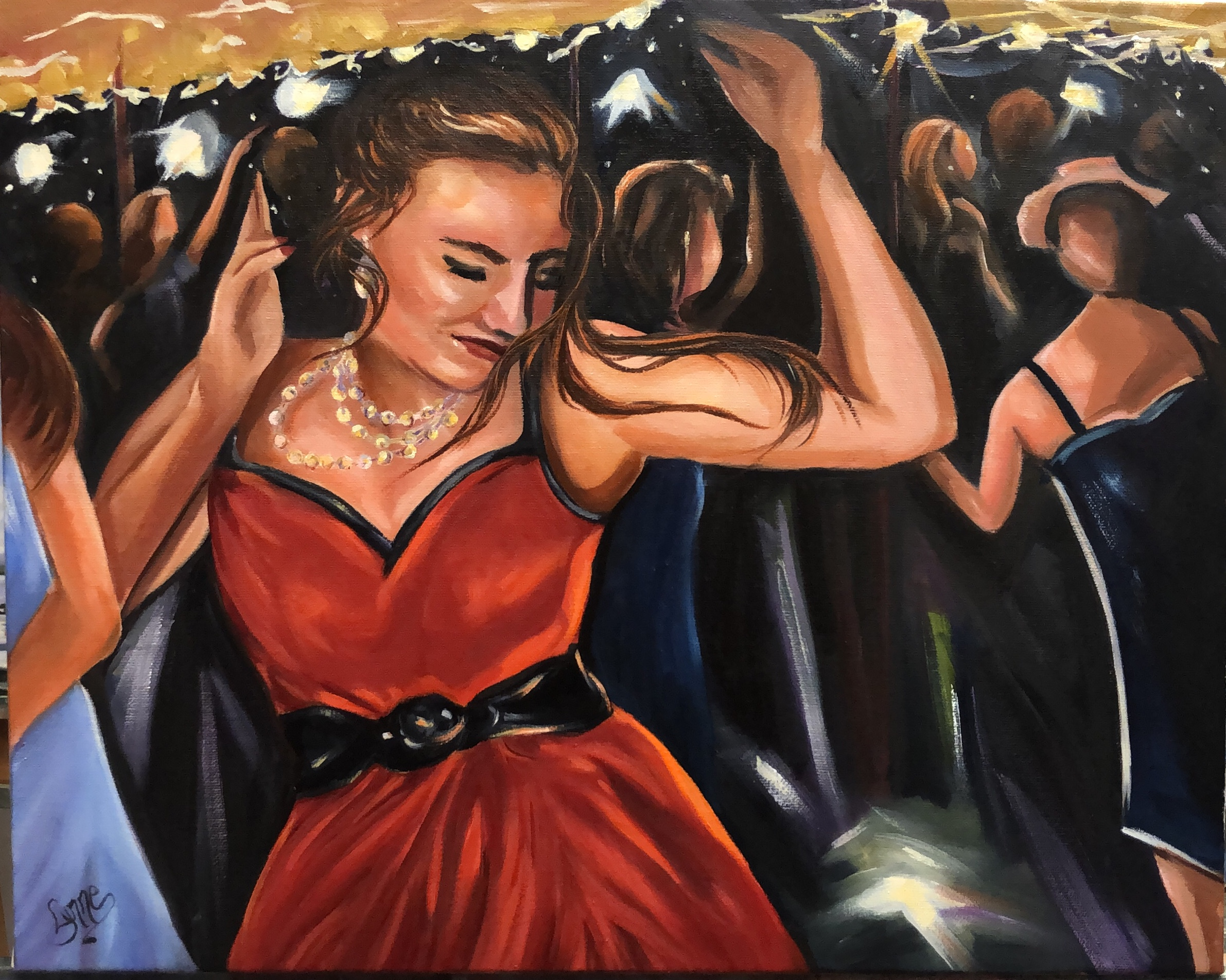 Painting of a girl in a red dress by Lynne Rempel.