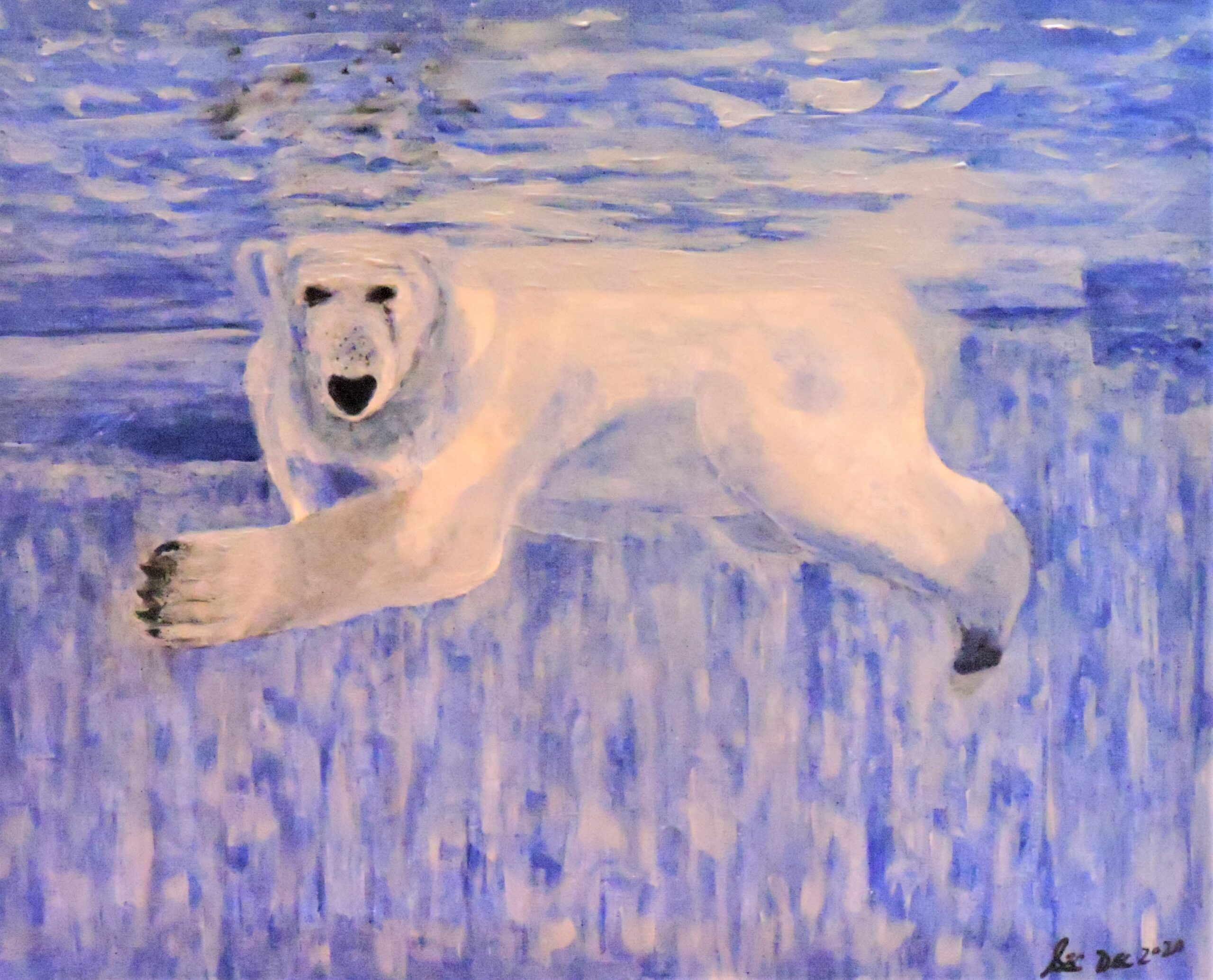 Painting of a polar bear by Sherry Crawford.