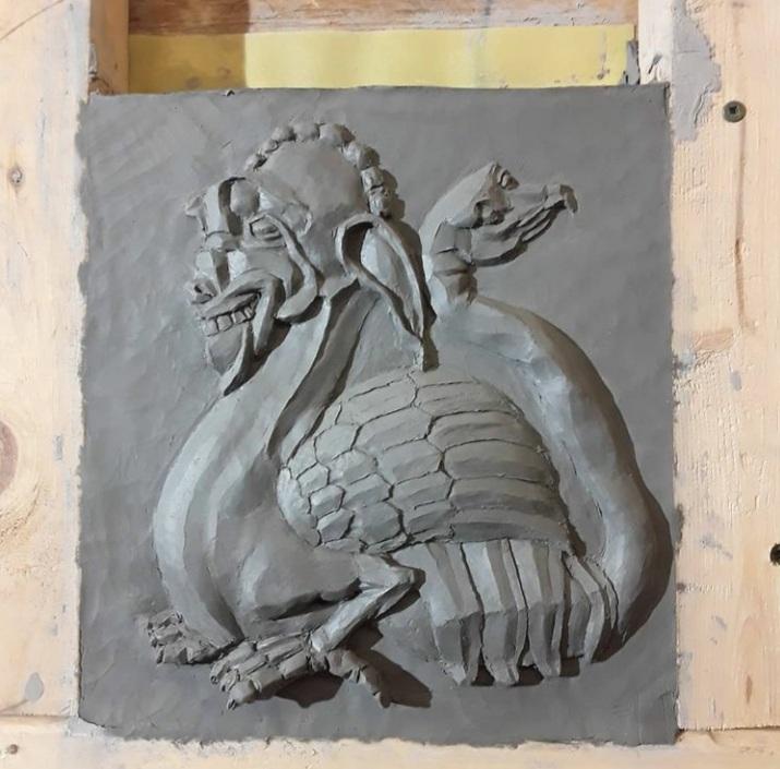 Clay sculpture by Jordan Clements.