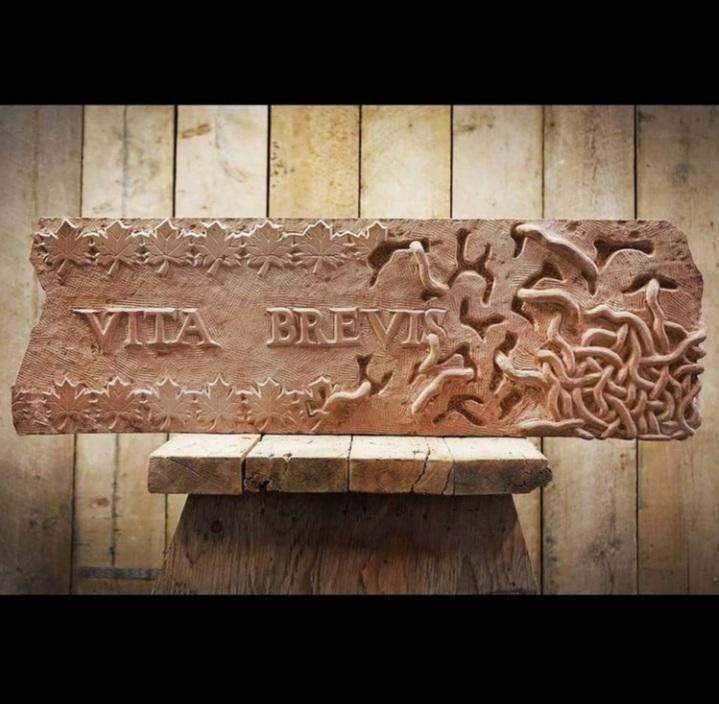 Sandstone sculpture by Jordan Clements.