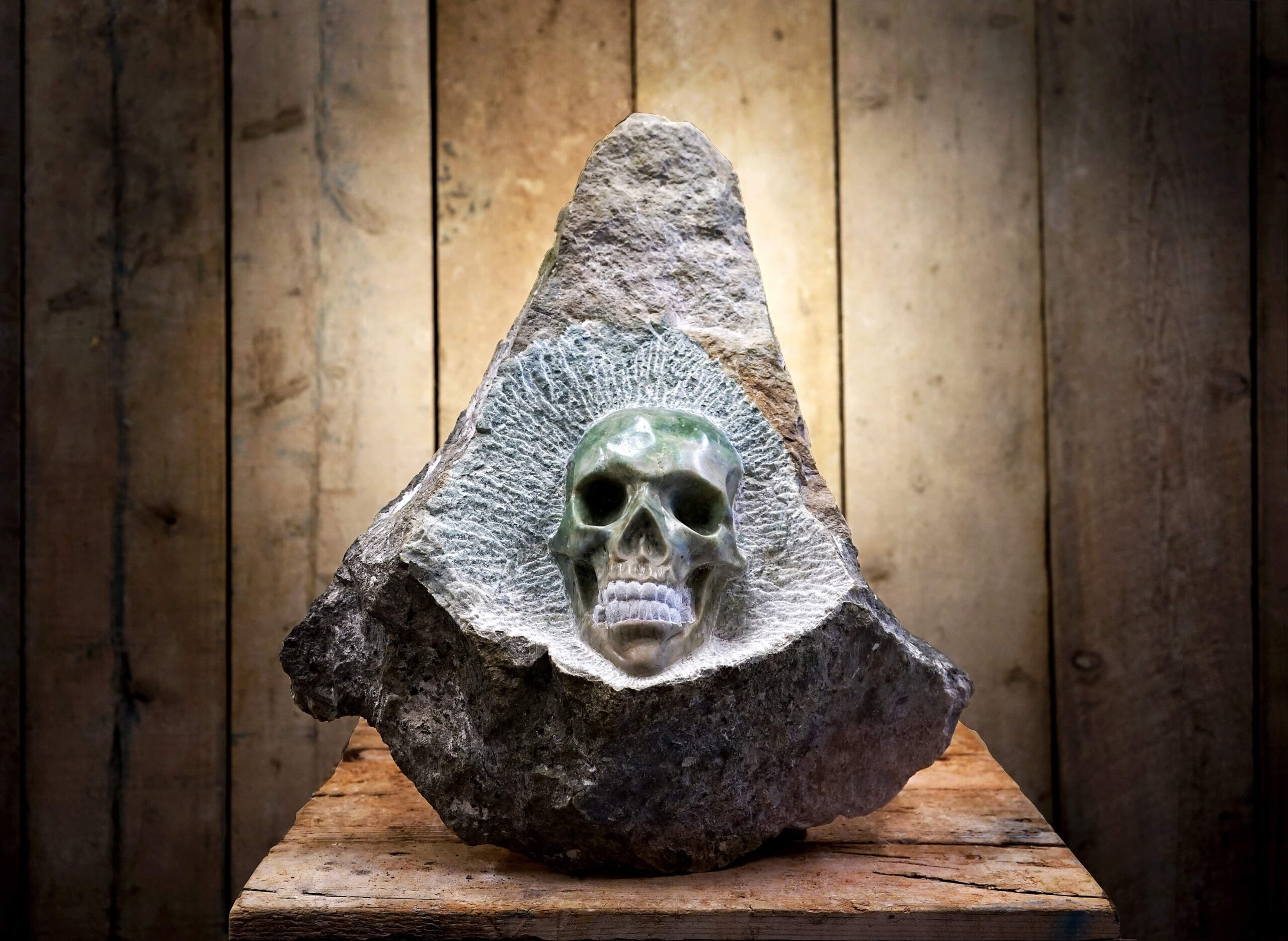 Marmora Marble sculpture with skull by Jordan Clements.