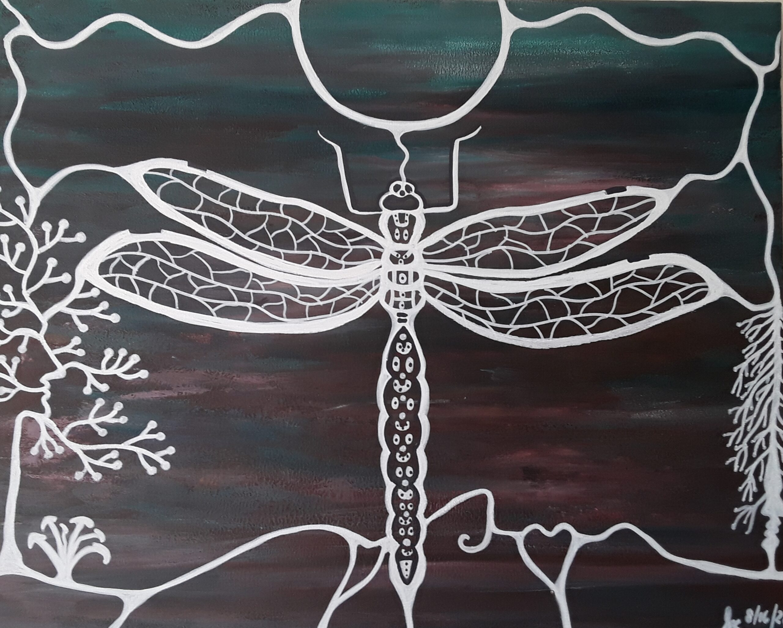 Painting of a dragonfly by Sherry Crawford.