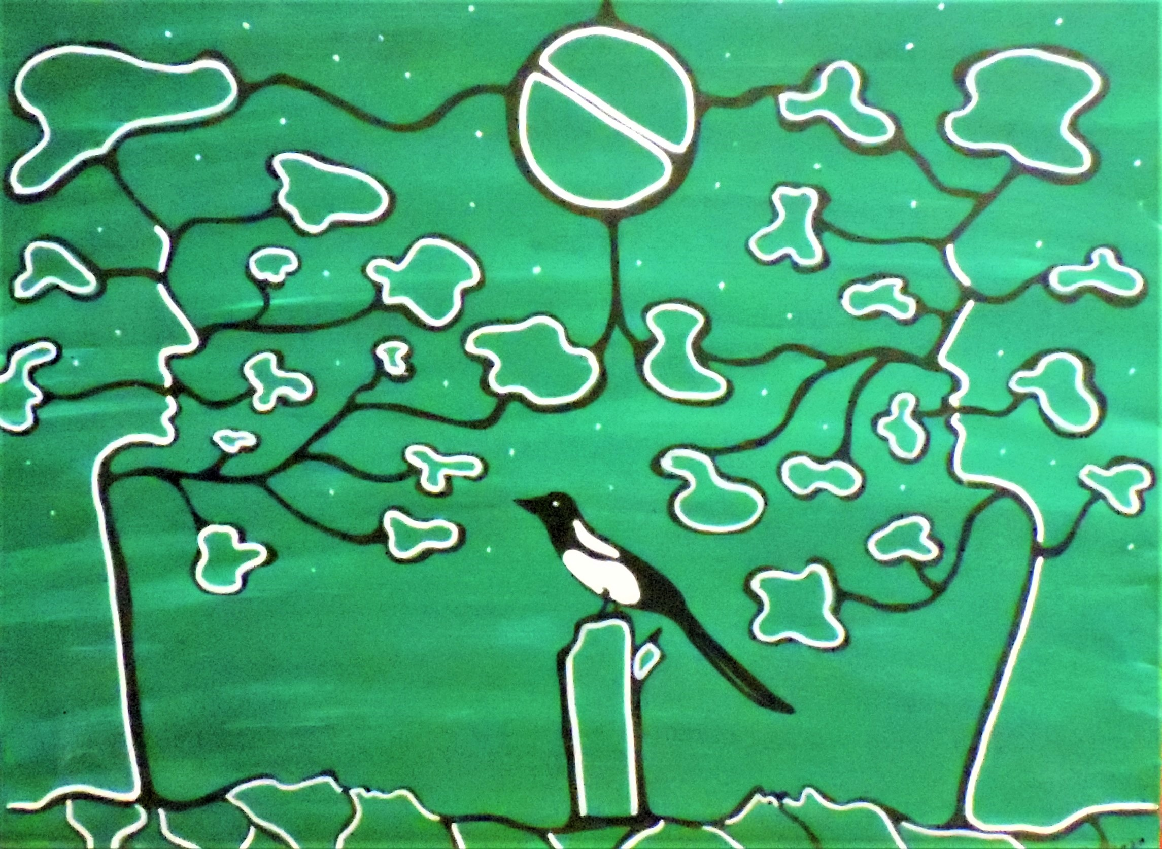 Painting of a magpie by Sherry Crawford.