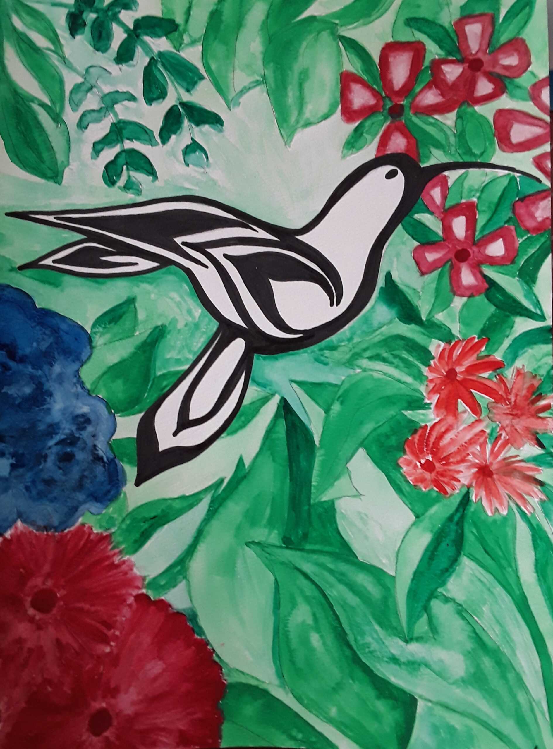 Painting of a hummingbird by Sherry Crawford